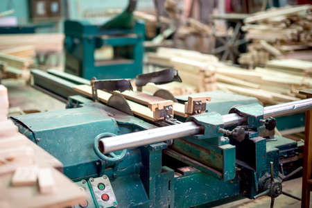 wood and furniture production plant, industrial factory with tools and objects Stock Photo