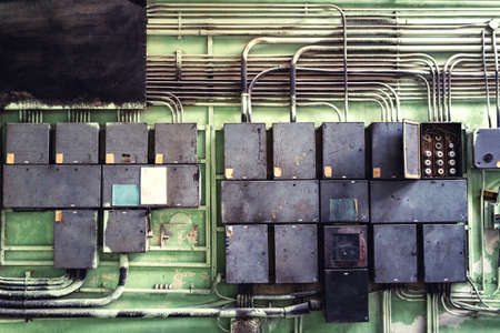 electrical system: Electrical panel with fuses and contractors in controller room at metallurgical factory