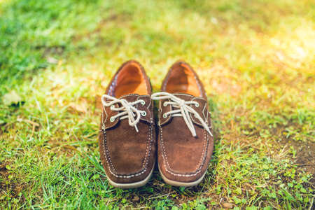 moccasins: Modern shoes, elegant brown summer moccasins. Mens leather shoes, view from top, ready for catalog Stock Photo