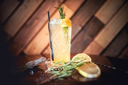 bartender: gin and tonic cocktail, alcoholic drink for hot summer days. Refreshment cocktail with rosemary, ice and lime. Stock Photo