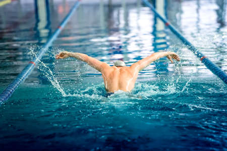swimming race: Male swimmer performing the butterfly stroke at indoor swimming competition