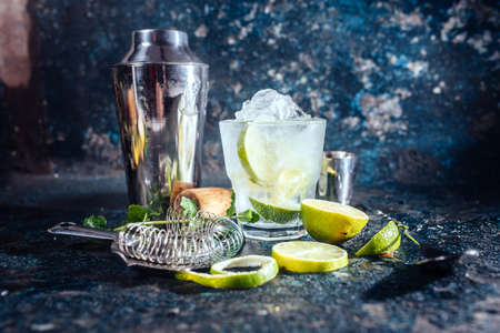 bartender: frozen alcoholic cocktail, refreshment drink with vodka and lime served at bar Stock Photo
