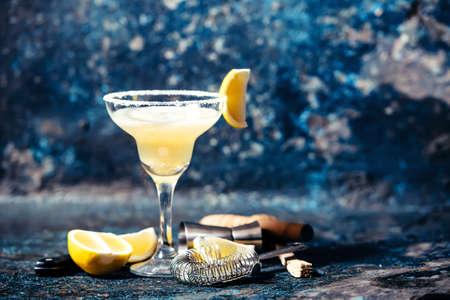 Alcoholic cocktail, margarita beverage served in casino, bar, restaurant or pub