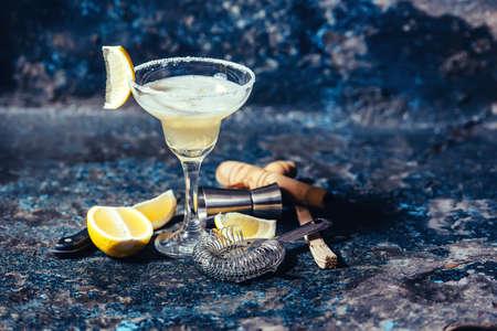 cocktail strainer: fresh lemon margarita served in bar and casino Stock Photo
