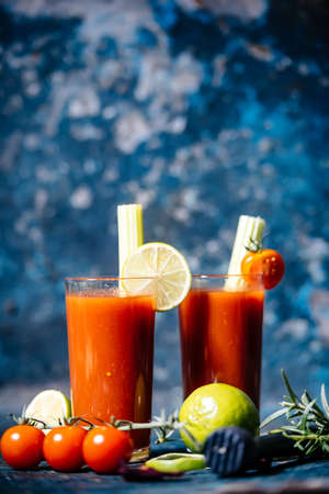close-up details of bloody mary cocktail served in restaurant and pub Imagens