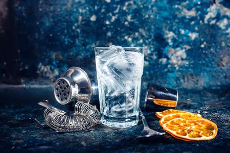 alcoholic beverage: fresh cocktail at bar, pub or restaurant. Refreshment alcoholic beverage served cold