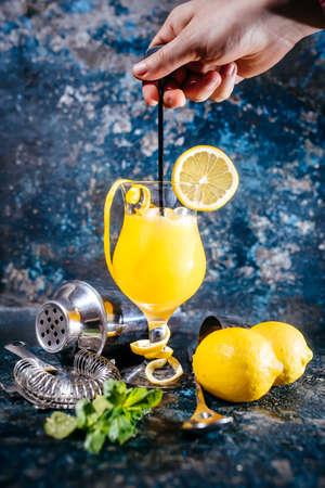 bebidas alcohÓlicas: camarero preparar el vodka alcohólica cóctel con hielo y menta. cócteles servidos en el restaurante, pub o un bar Foto de archivo