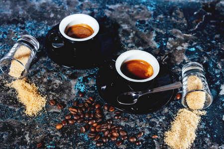 espresso: Two espresso cups of coffee, strong ristretto served in italian cafe