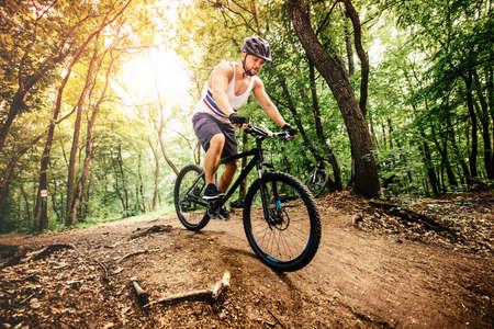 bike trail: Professional mountain bike cyclist riding trail in forest