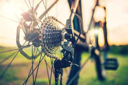 palanca: close up of a Bicycle wheel with gear lever details, chain and spokes, gears mechanism Foto de archivo