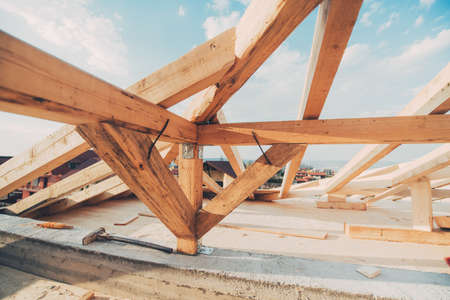 installed: roof construction details. Beams and timber being installed