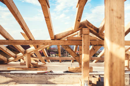 Domestic roof construction details with truss system and exterior beams