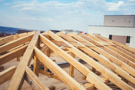 Details of construction building, Timber and beam details of roof system Stock Photo - 75726665
