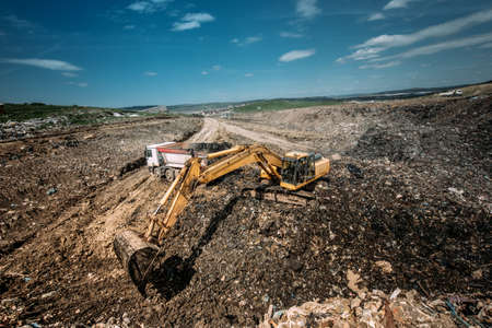 Excavation works for environmental purpose. Heavy duty machinery details Stock Photo