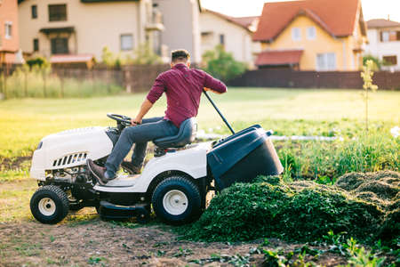 unloading: Man with lawn tractor unloading cut grass during landscaping works
