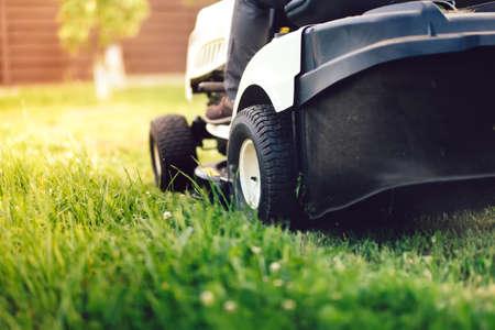 Garden maintainance details - close up view of grass mower