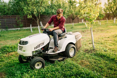 seeding: Handsome man, worker using grass cutting equipment for landscaping works