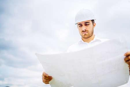 view of engineer working on construction site. civil engineering details Foto de archivo