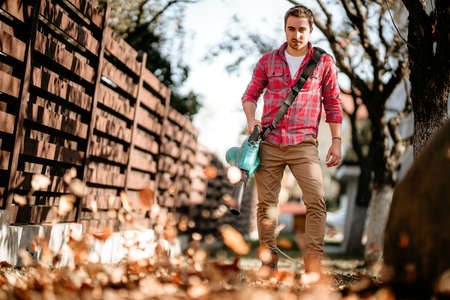 Portrait of handsome man with leaf blower, home gardening details