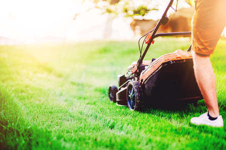 Close up details of industrial lawnmower, machinery. Gardening details and landscaping Banco de Imagens