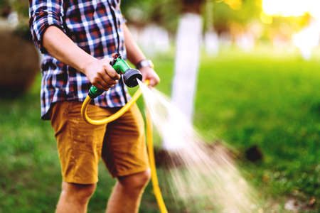 Close up details of gardener using hosepipe watering the lawn, grass and plants Stock fotó