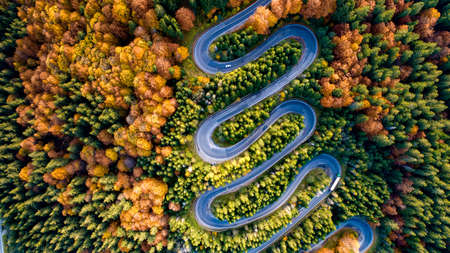 Aerial landscape of colourful landscape with heavy traffic, rural road, autumn trees with, yellow and orange leaves. Top view of highway
