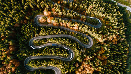 Aerial view of mountain roads details with colourful landscape