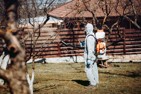 Agriculture worker concept. Farmer spraying organic pesticides