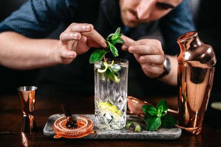 Professional barman preparing mojito cocktail at bar
