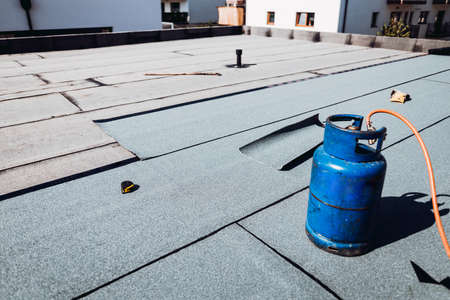 Details of waterproofing at house construction. Bituminous membrane waterproofing system