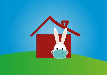 Easter bunny in a medical mask. Stay at home. Happy Easter. Happy quarantine. Coronavirus, disease, isolation. Celebration Easter canceled. Ilustração
