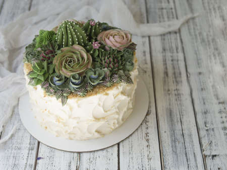 Cake decorated with creamy succulents on a wooden background with white fabric. Copy space, close up, top view