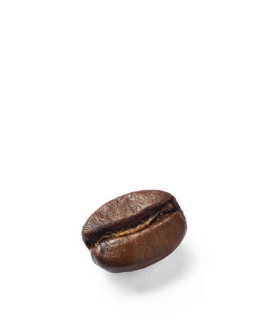 Coffee bean on white background. Stacked macro photography.