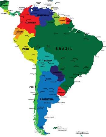 South America political map Vettoriali