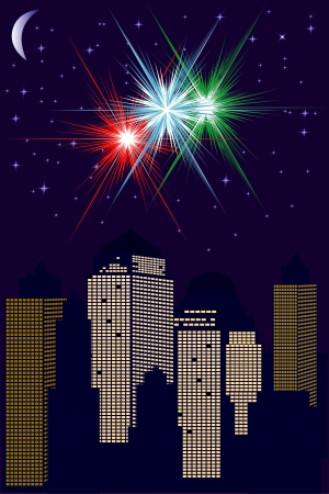famous painting: City skyline with fireworks