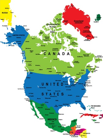 north america: Political map of North America Illustration