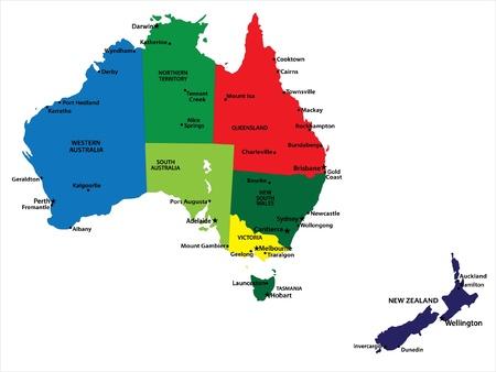 Australia and New Zealand map Illustration