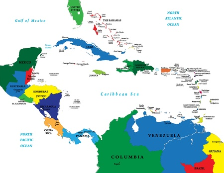 Central America and the Caribbean Islands map Vettoriali