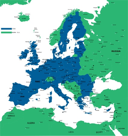 E U  POLITICAL MAP Vector
