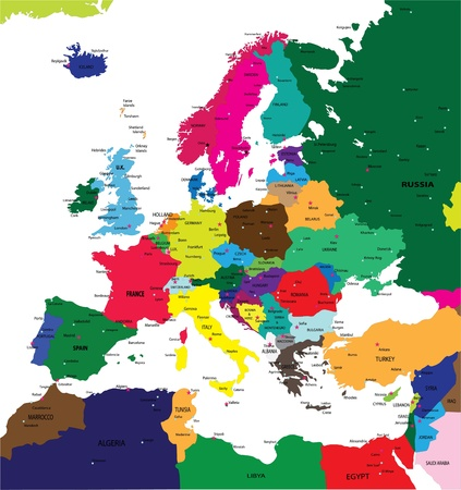 ireland cities: Political map of Europe Illustration