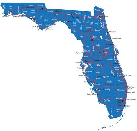 panama city beach: Florida mappa Vettoriali