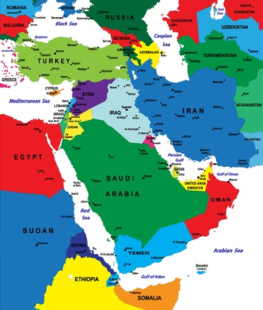 middle: Middle-east political map
