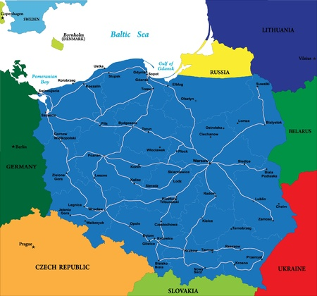 Carte de la Pologne Banque d'images - 14167483