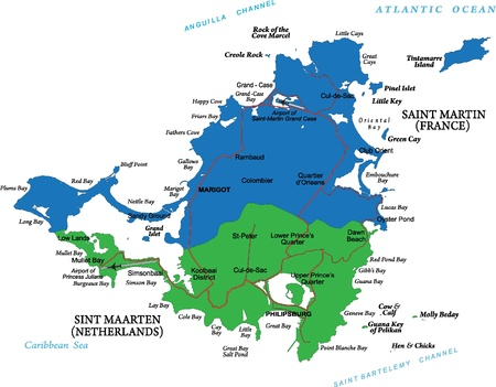 Caribbean Island of Saint Martin map Banco de Imagens - 14167490