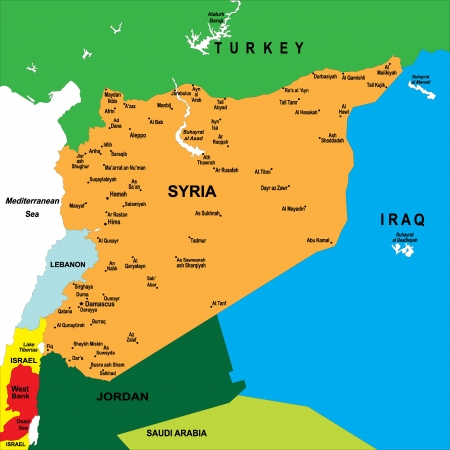 southwest asia: Syria map Illustration