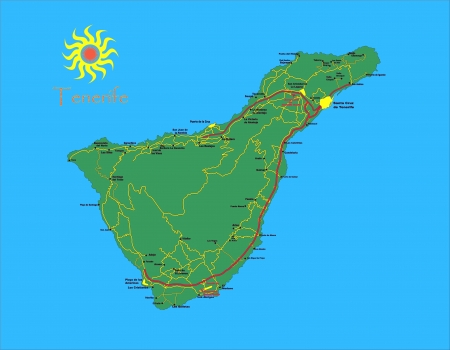 canary islands: Tenerife map Illustration