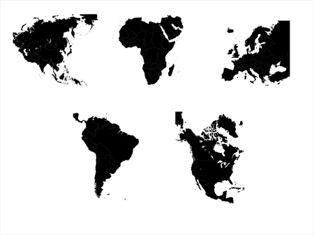 The main five continents with country boundries Vector