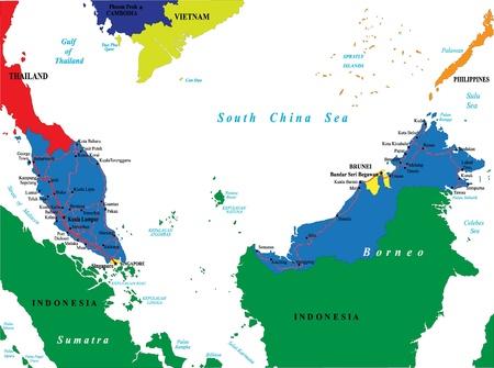 singapore city: Malaysia map Illustration