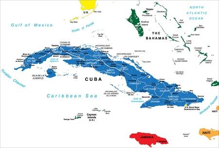 Cuba political map Stock Vector - 14244311