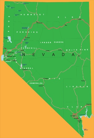 nye: State of Nevada political map